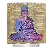 Space Buddha Dictionary Art Shower Curtain