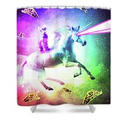 Space Cat Riding Unicorn - Laser, Tacos And Rainbow Shower Curtain
