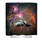 Space Fish Shower Curtain