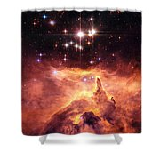 Space Image Orange And Red Star Cluster With Blue Stars Shower Curtain