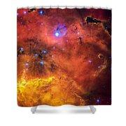 Space Image Red Orange And Yellow Nebula Shower Curtain