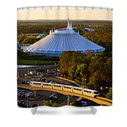 Space Mountain And Monorail Peach Shower Curtain