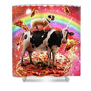 Space Pug Riding Cow Unicorn - Pizza And Taco Shower Curtain