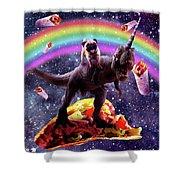 Space Pug Riding Dinosaur Unicorn - Taco And Burrito Shower Curtain
