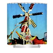 Space Racer In Distance Shower Curtain by Susan Savad