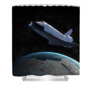 Space Shuttle Backdropped Against Earth Shower Curtain