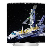 Space Shuttle With Hubble Telescope Shower Curtain