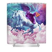 Space Sloth On Unicorn - Sloth Pizza Shower Curtain