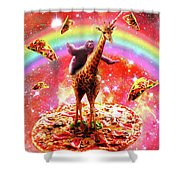 Space Sloth Riding Giraffe Unicorn - Pizza And Taco Shower Curtain