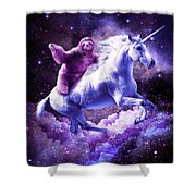 Space Sloth Riding On Unicorn Shower Curtain