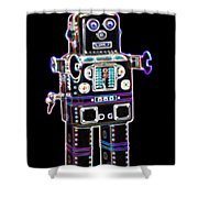 Spaceman Robot Shower Curtain