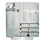 Spade Leaning Against Fence In The Snow Shower Curtain