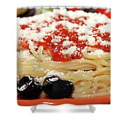 Spaghetti With Tomatoes And Olives Food Background Shower Curtain