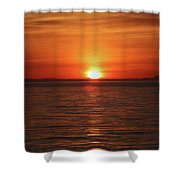 Spanish Banks Sunset - Digital Oil Shower Curtain