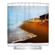 Spanish Beach Chalets Shower Curtain
