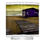 Spanish Beach Hut Shower Curtain