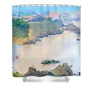 Spanish Coastline Waterline  Shower Curtain