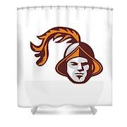 Spanish Conquistador Head Retro Shower Curtain