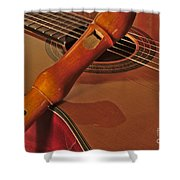 Spanish Guitar And Flute Shower Curtain
