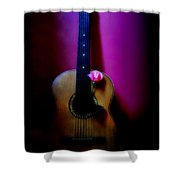 Spanish Guitar And Pink Rose Shower Curtain