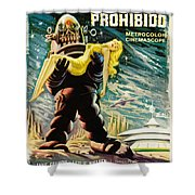 Spanish Version Of Forbidden Planet In Cinemascope Retro Classic Movie Poster Shower Curtain