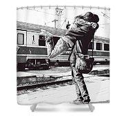 Sparkle At The Train Station - Ballpoint Pen Art Shower Curtain