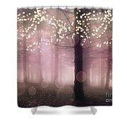 Sparkling Fantasy Fairytale Trees Nature Pink Woodlands - Sparkling Lights Bokeh Fantasy Trees Shower Curtain
