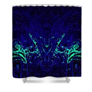 Sparkly Blues In. A Shower Curtain