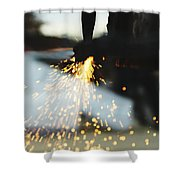 Sparks From Cutting Metal Shower Curtain