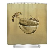 Sparrow And Bowl Of Cherries Shower Curtain