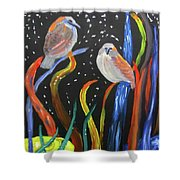 Sparrows Inspired By Chihuly Shower Curtain by Linda Feinberg