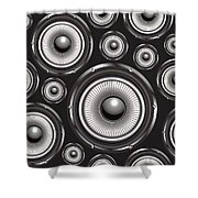 Speakers Over Black Shower Curtain