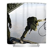 Special Operations Jumpers Exit A C-130 Shower Curtain