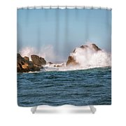 Spectacular Waves Smashing On The Rocks At Milford Sound Fjord O Shower Curtain