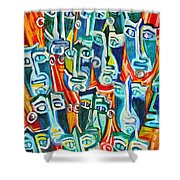 Spectators. Anticipation. Shower Curtain