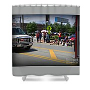 Spectators At A Parade  Shower Curtain