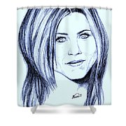 Speed Drawing Of Jennifer Aniston  Shower Curtain