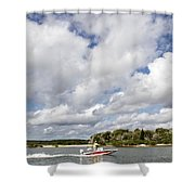 Speedy Red Boat Shower Curtain