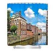Speicherstadt Warehouse District In Hamburg Shower Curtain