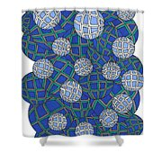 Spheres In Blue Shower Curtain