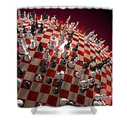 Spherical Chess Board World Shower Curtain