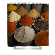 Spices For Sale In Souk, Fes, Morocco Shower Curtain