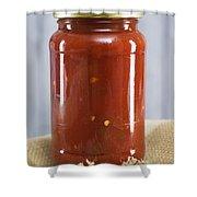 Spicy Salsa In Clear Glass Jar Shower Curtain
