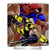 Spider And The Wolverine Shower Curtain