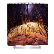 Spinning Steel Wool In Snow Shower Curtain
