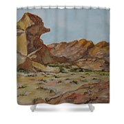 Spinx In The Valley Of Fire Shower Curtain