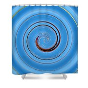 Have A Closer Look. Spiral Art With Light And Dark Blue Embossing Effect.  Shower Curtain