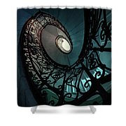 Spiral Ornamented Staircase In Blue And Green Tones Shower Curtain
