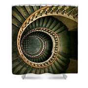 Spiral Staircase  In Green And Yellow Shower Curtain