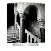 Spiral Stairs- Black And White Photo By Linda Woods Shower Curtain